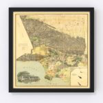 Vintage Map of Los Angeles County, California 1898