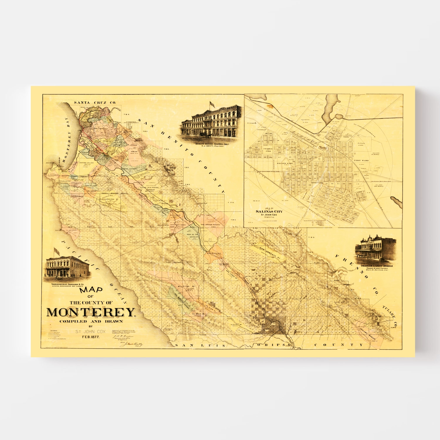 Vintage Map of Monterey County, California 1877