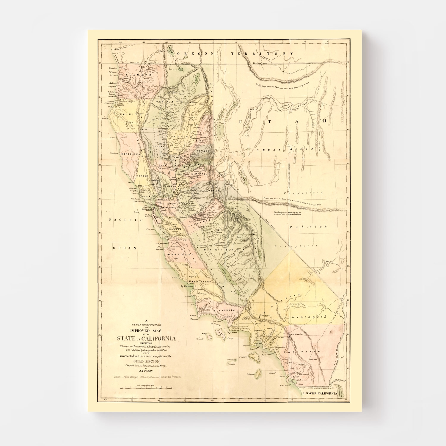 Vintage Map of California, 1851
