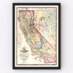 Vintage Map of California, 1867