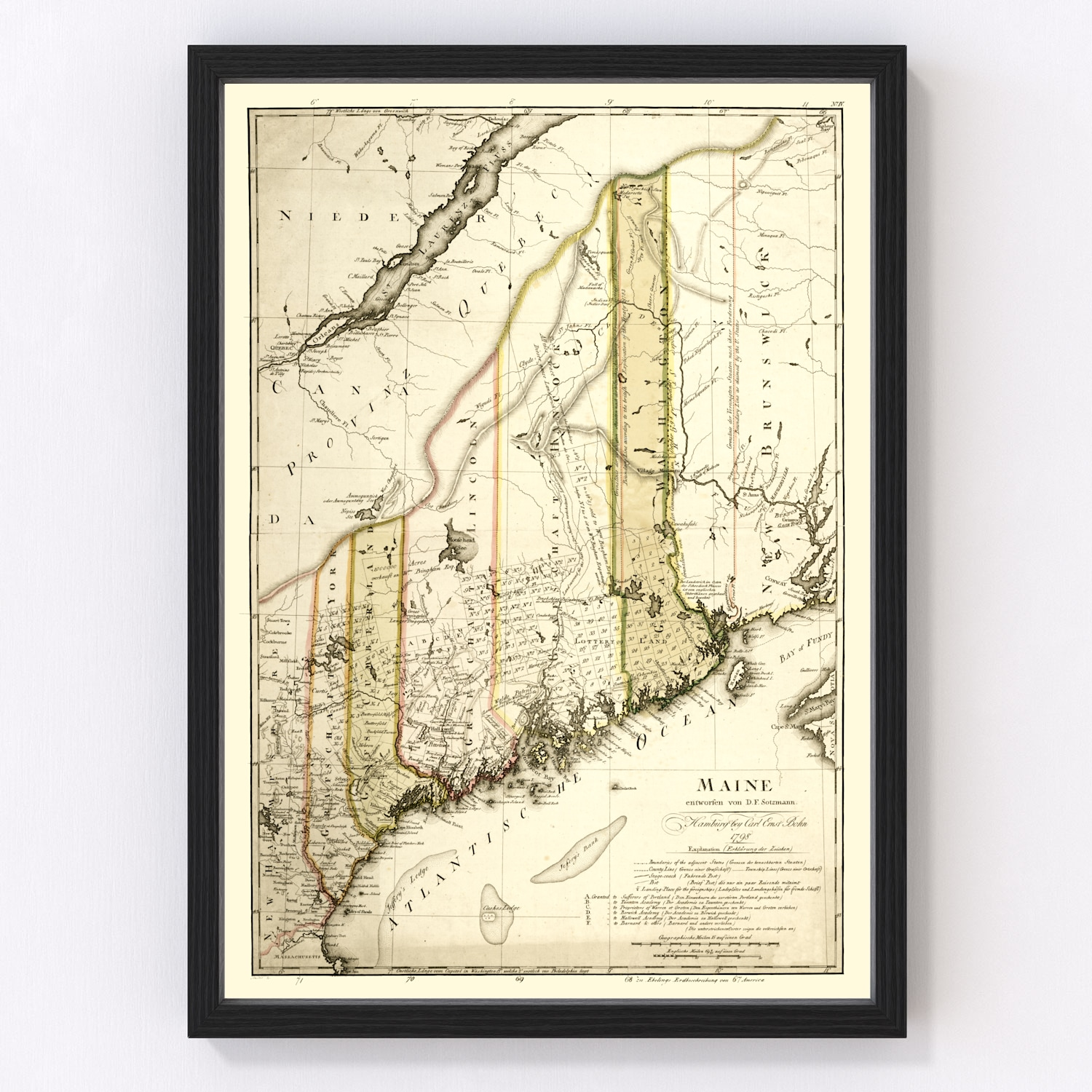 Vintage Map of Maine, 1798