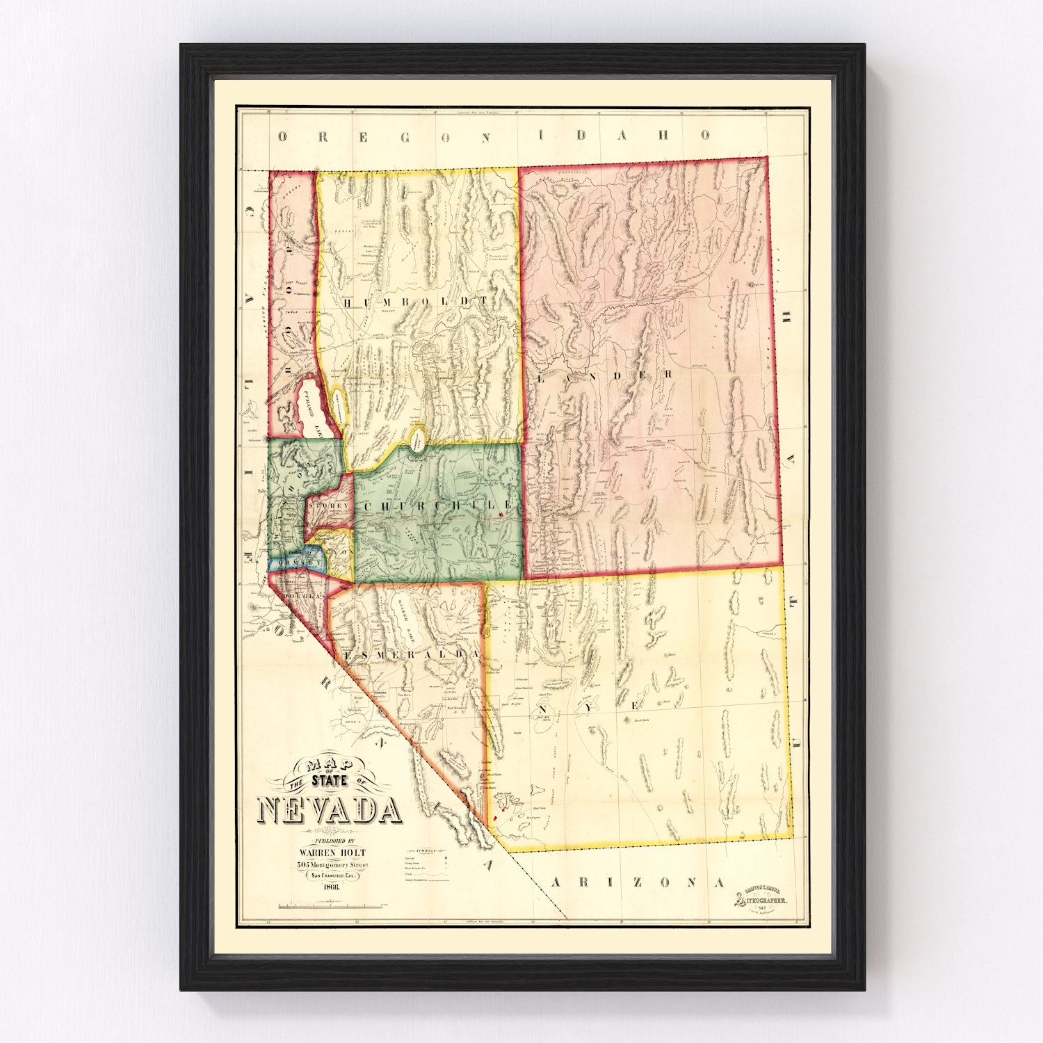 Vintage Map of Nevada, 1866