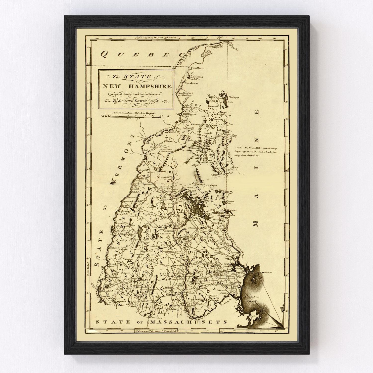 Vintage Map of New Hampshire, 1794