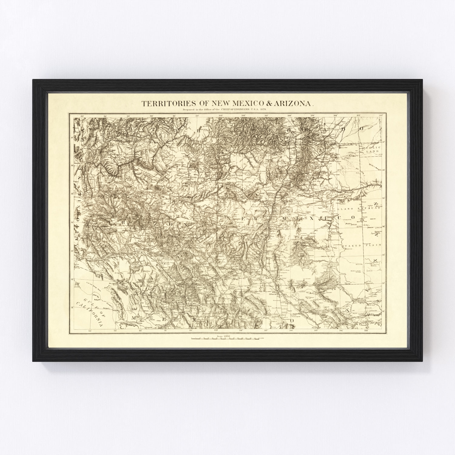 Vintage Map of New Mexico, 1879