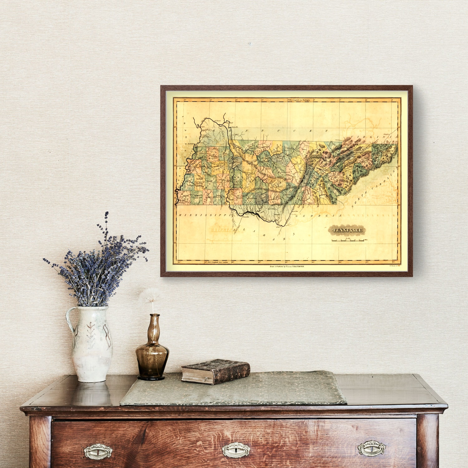 Vintage Map of Tennessee, 1826