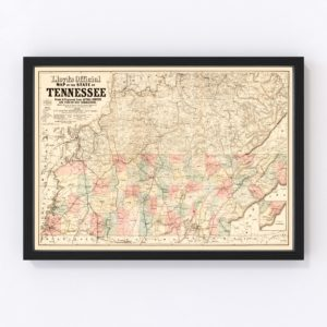 Vintage Map of Tennessee, 1862