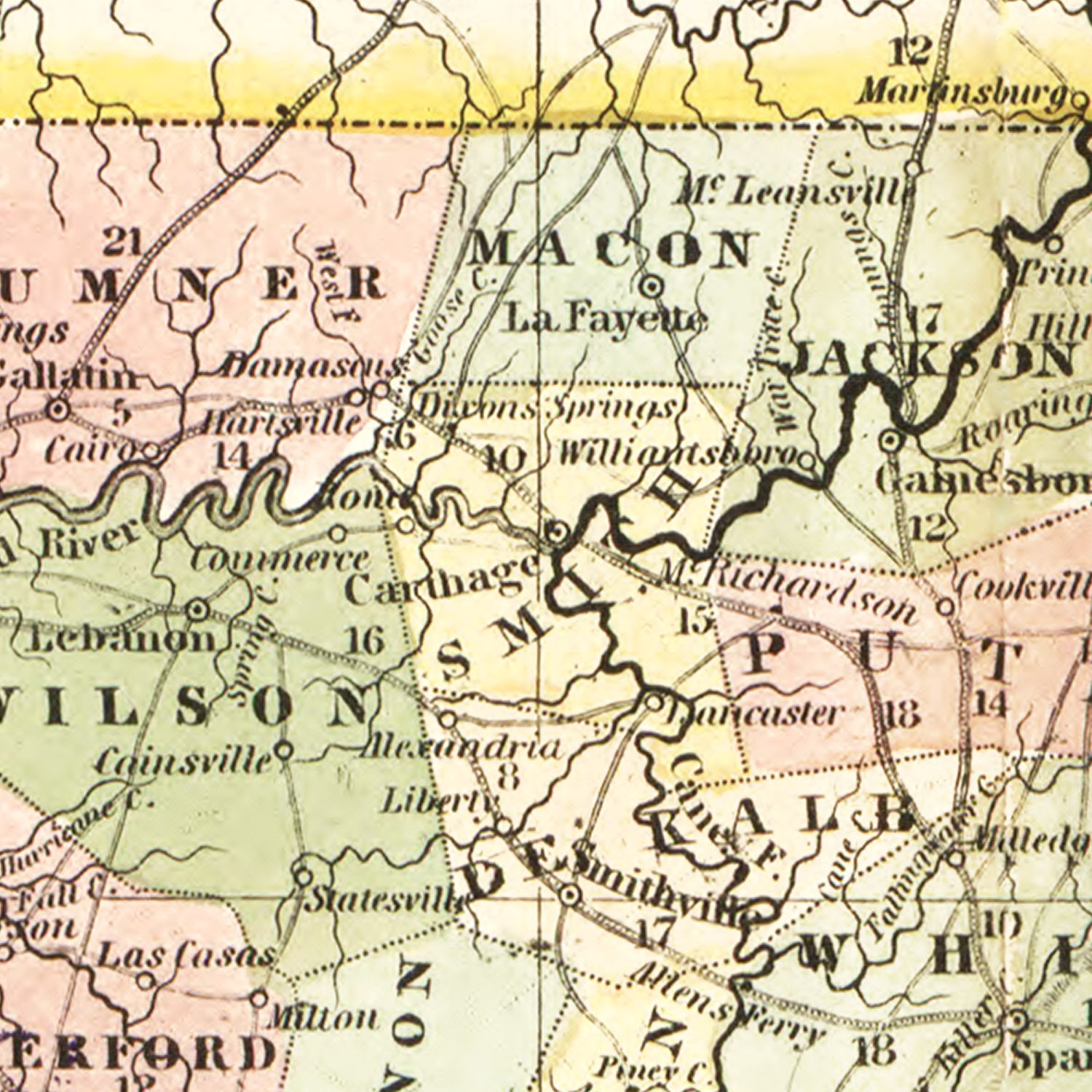 Vintage Map of Tennessee, 1851