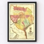 Vintage Map of Texas, 1837