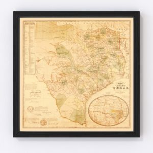 Vintage Map of Texas, 1853