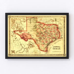 Vintage Map of Texas, 1866