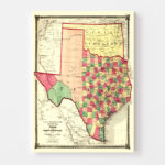 Vintage Map of Texas, 1874
