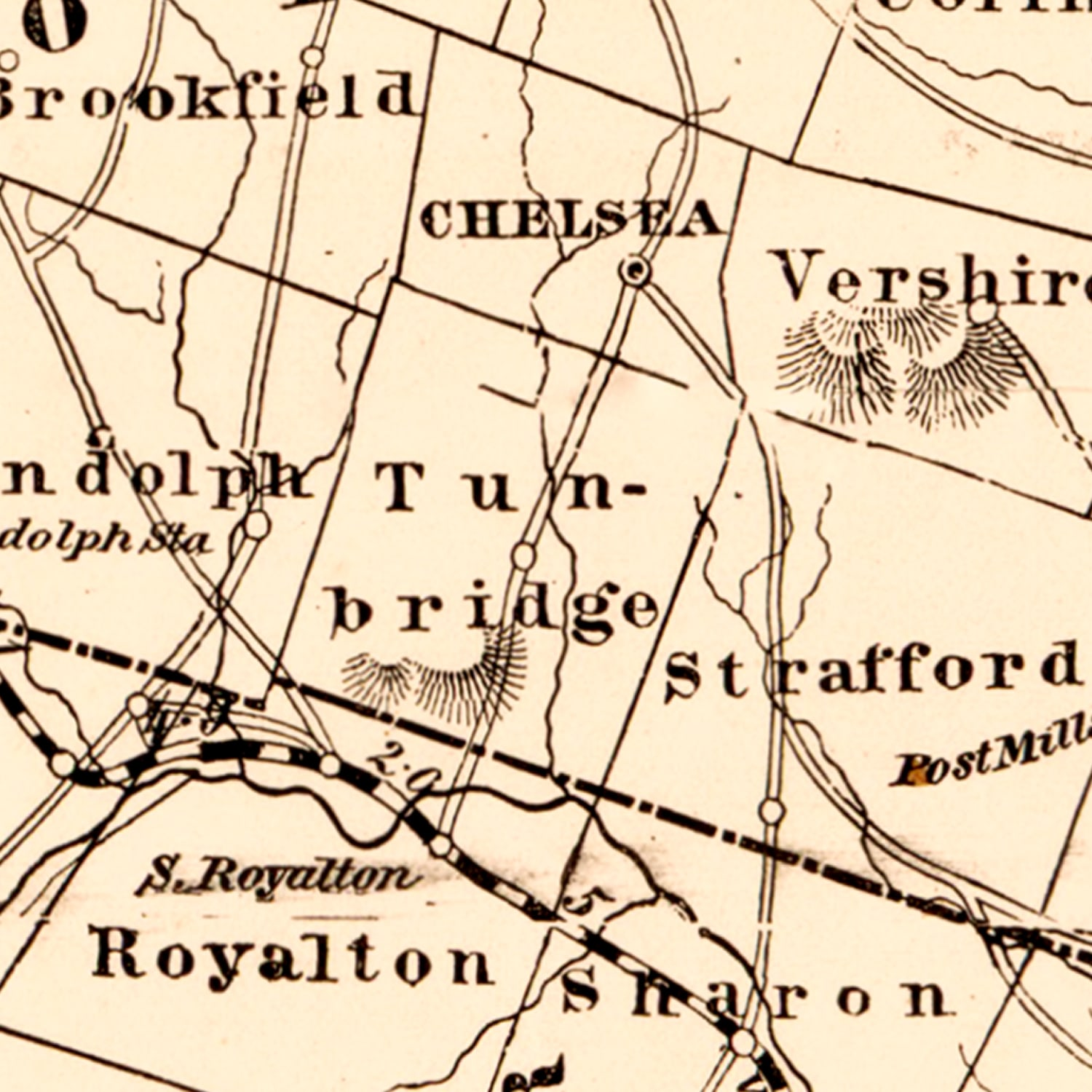 Vintage Map of Vermont, 1890