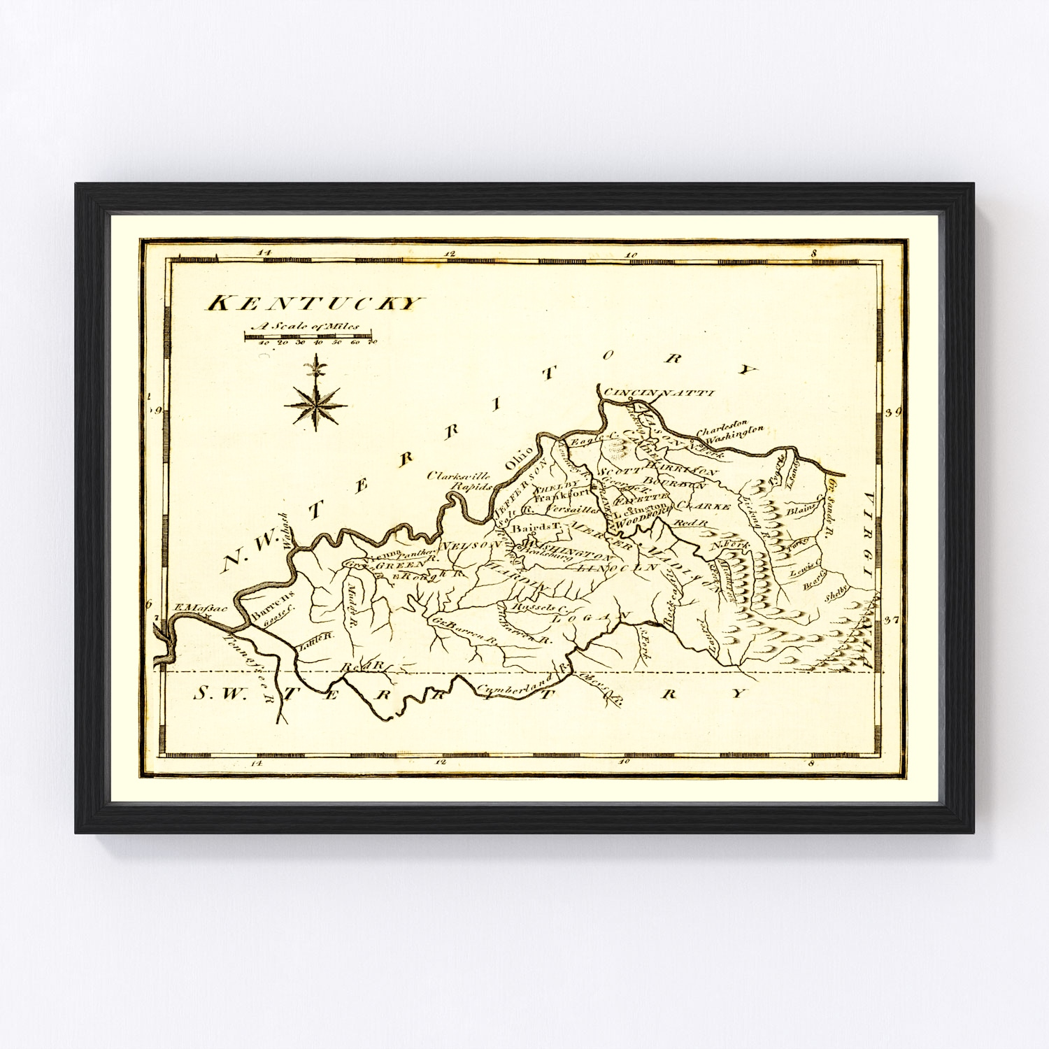 Vintage Map of Kentucky, 1795