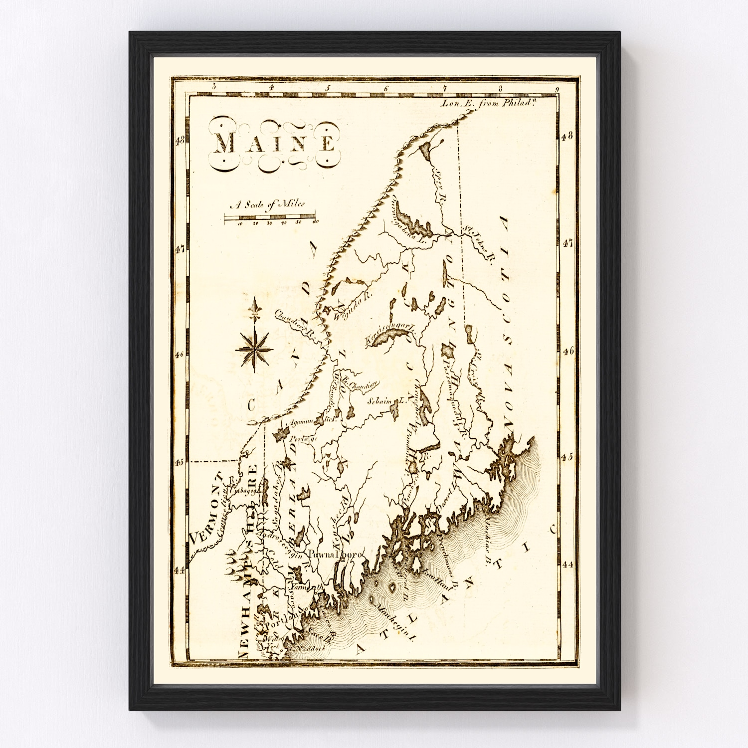 Vintage Map of Maine, 1795