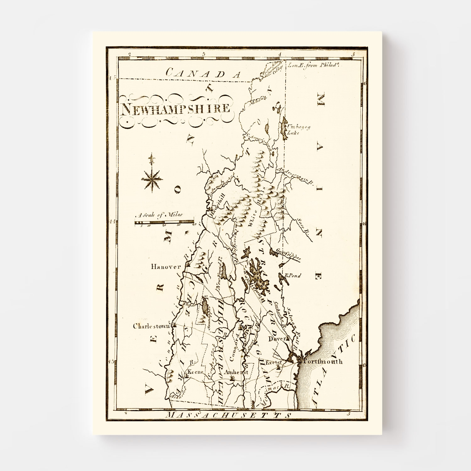 Vintage Map of New Hampshire, 1795