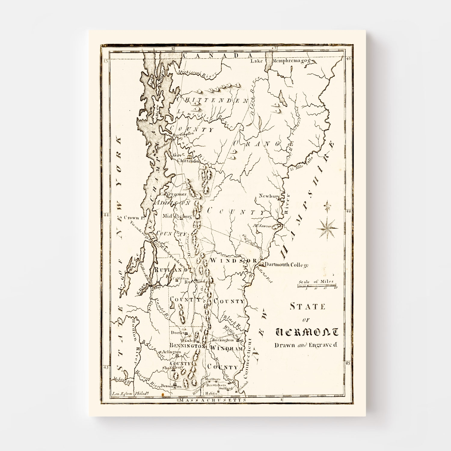 Vintage Map of Vermont, 1795