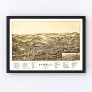 Vintage Map of Barre, Vermont 1891