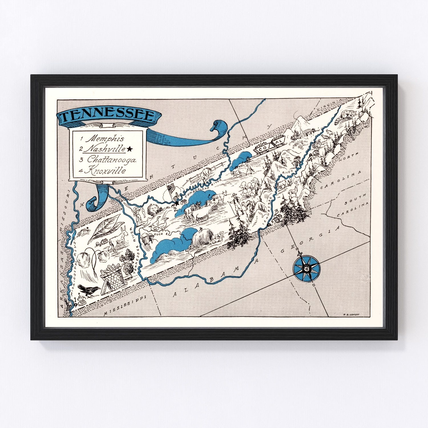 Vintage Map of Tennessee, 1931