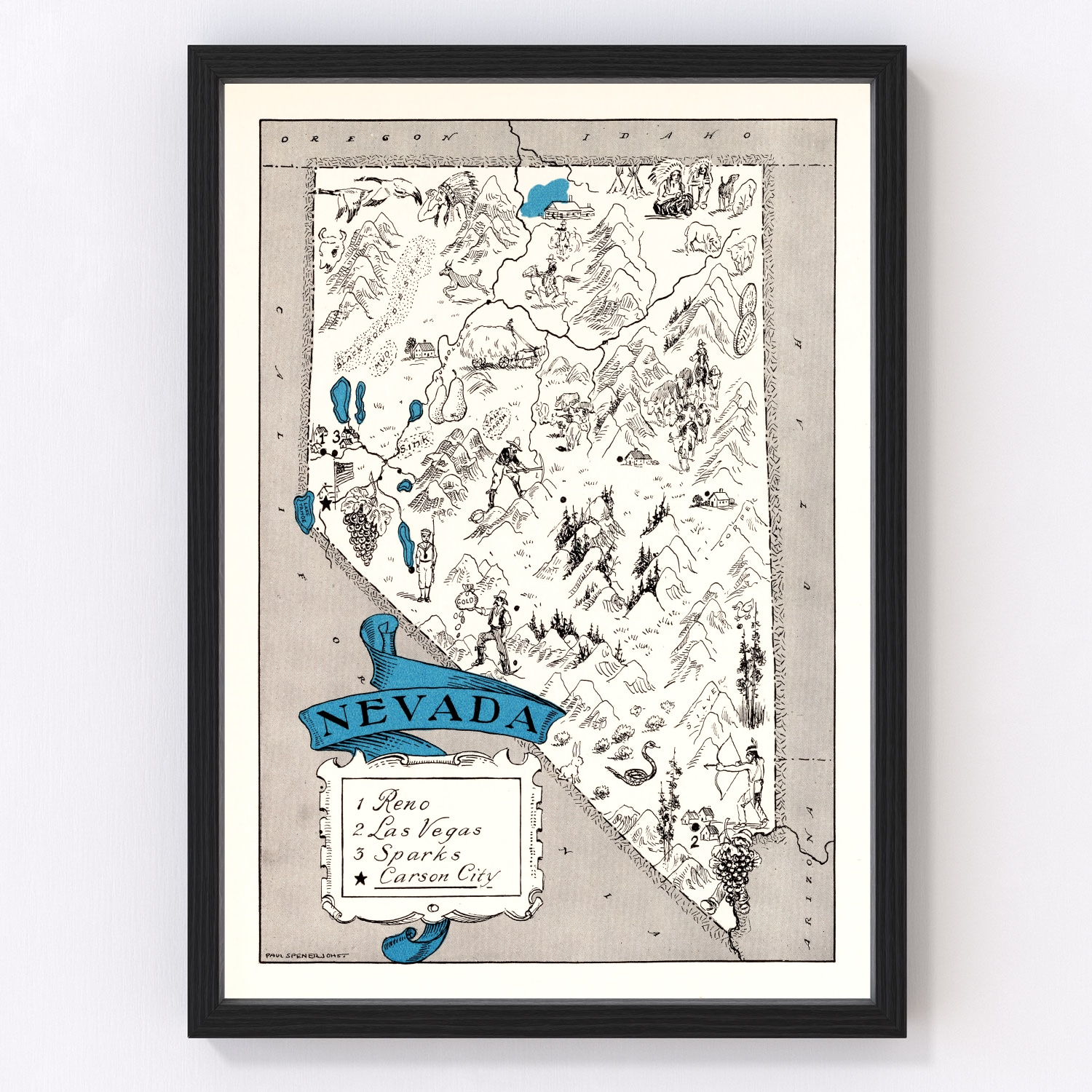 Vintage Map of Nevada, 1931