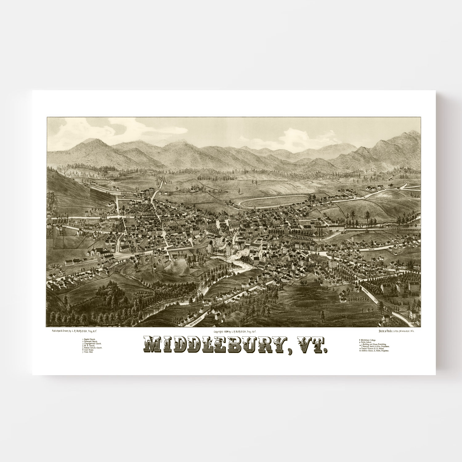 Vintage Map of Middlebury, Vermont 1886