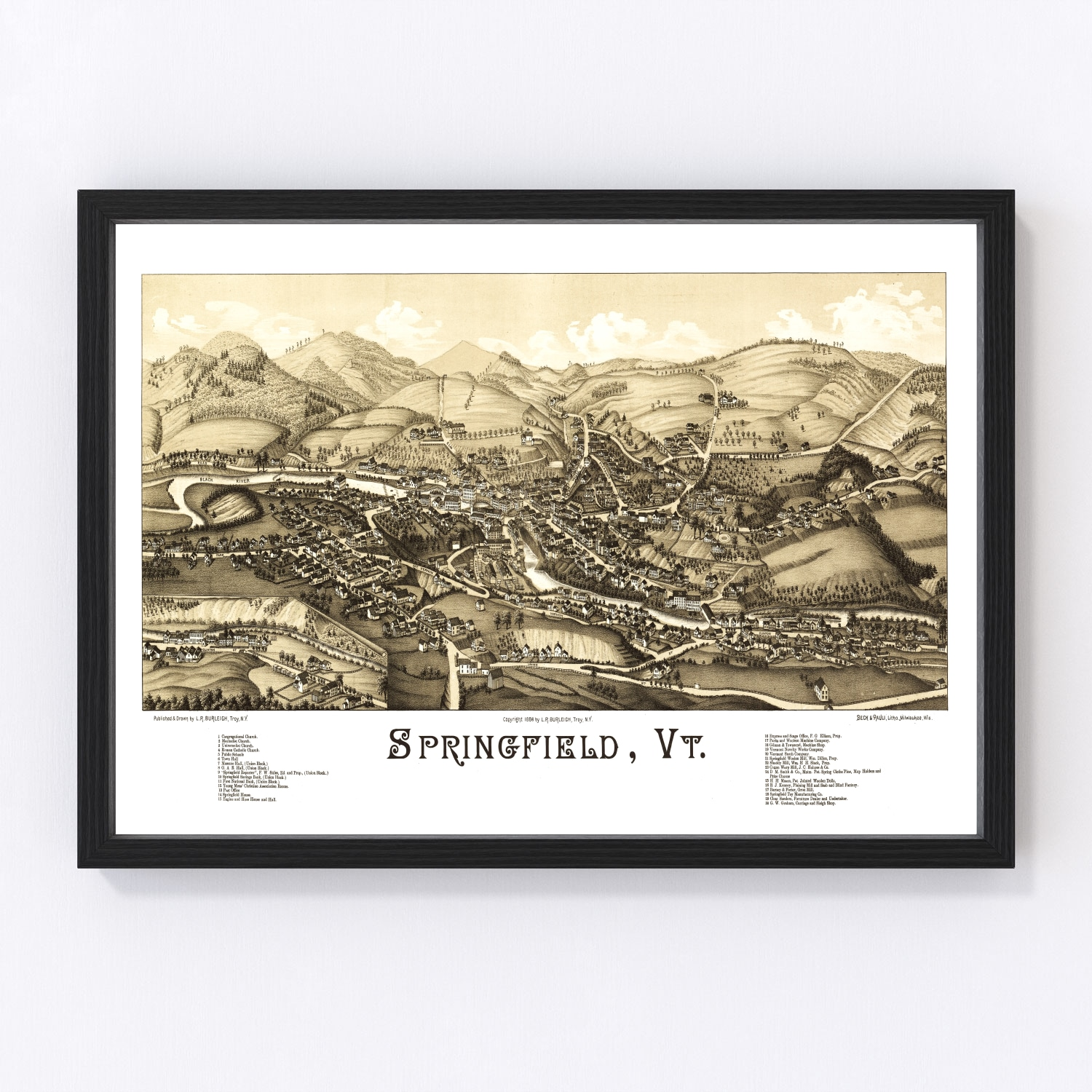 Vintage Map of Springfield, Vermont 1886