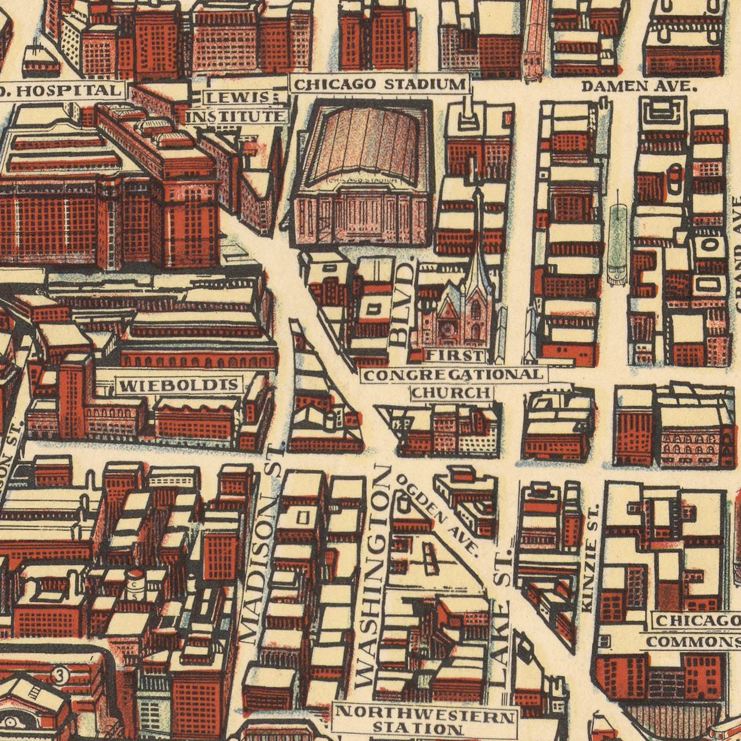 Vintage Map of Chicago, Illinois 1938