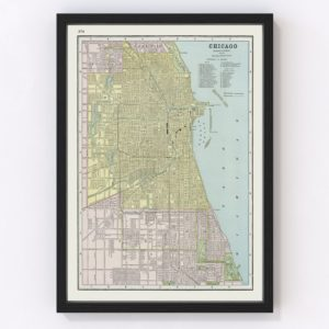 Vintage Map of Chicago, Illinois 1889