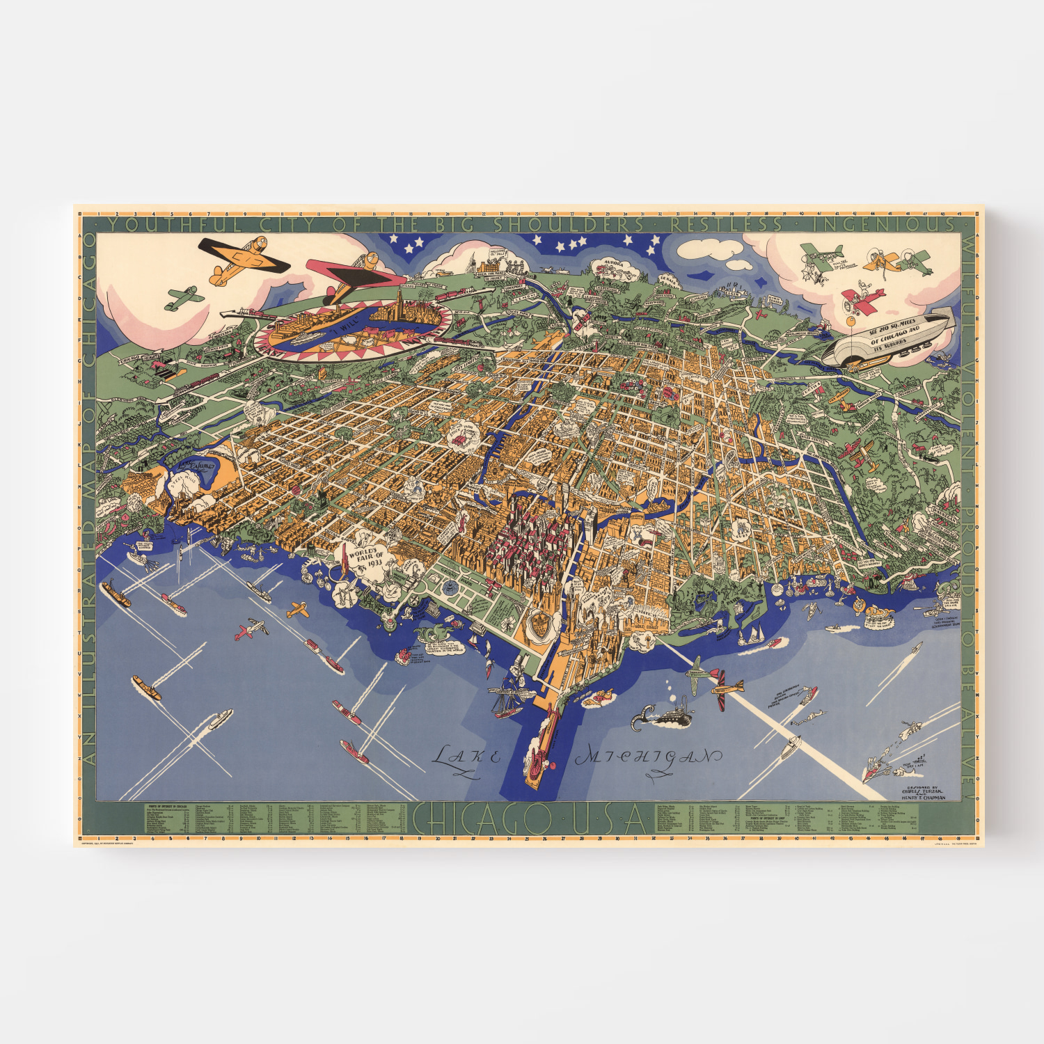 Vintage Map of Chicago, Illinois 1931