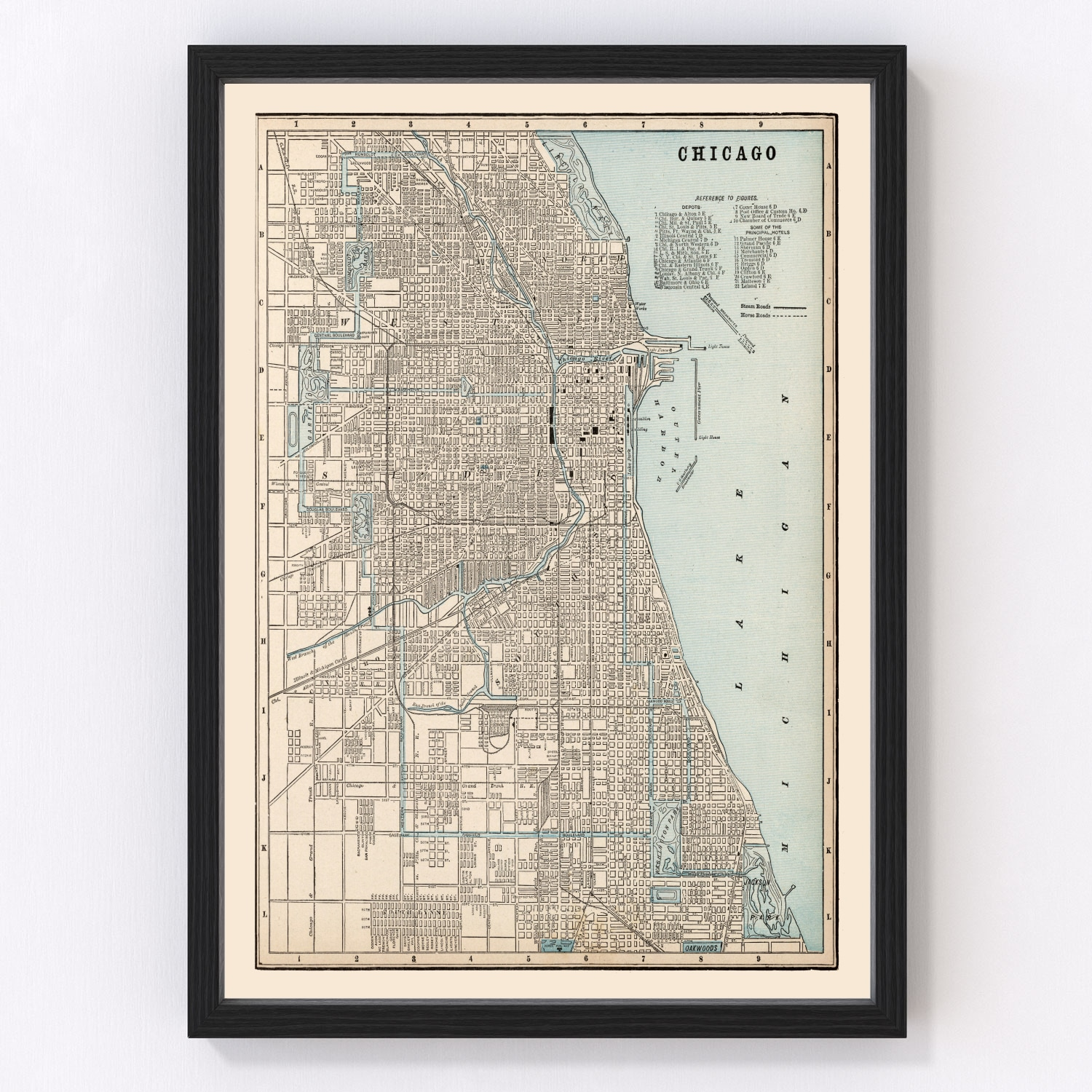 Vintage Map of Chicago, Illinois 1893
