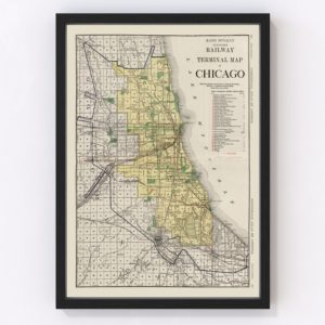 Vintage Map of Chicago, Illinois 1924