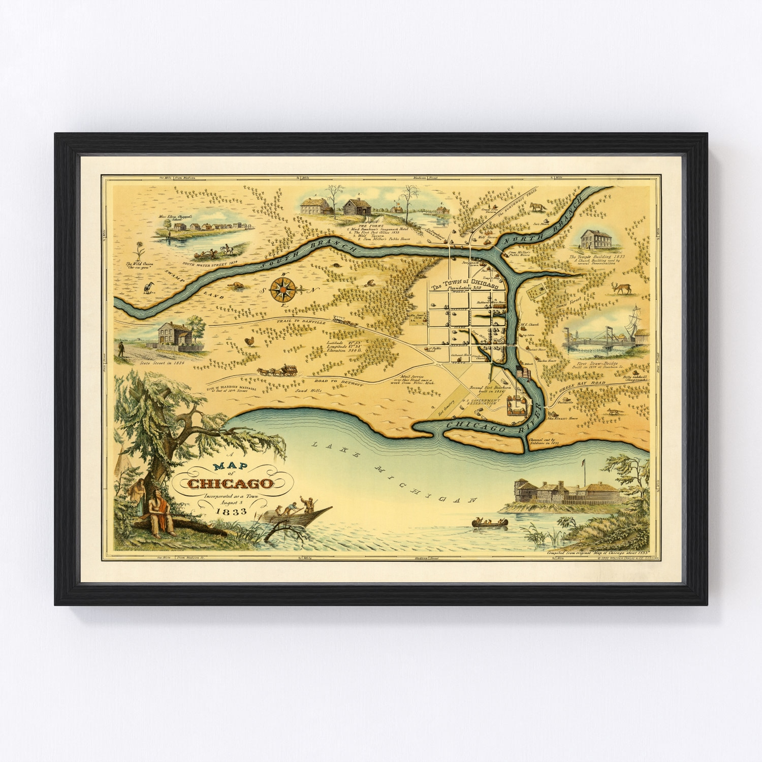 Vintage Map of Chicago, Illinois 1933