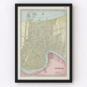 Vintage Map of New Orleans, Louisiana 1901