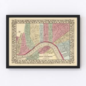 Vintage Map of New Orleans, Louisiana 1870