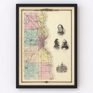 Vintage Map of Milwaukee County Wisconsin, 1878