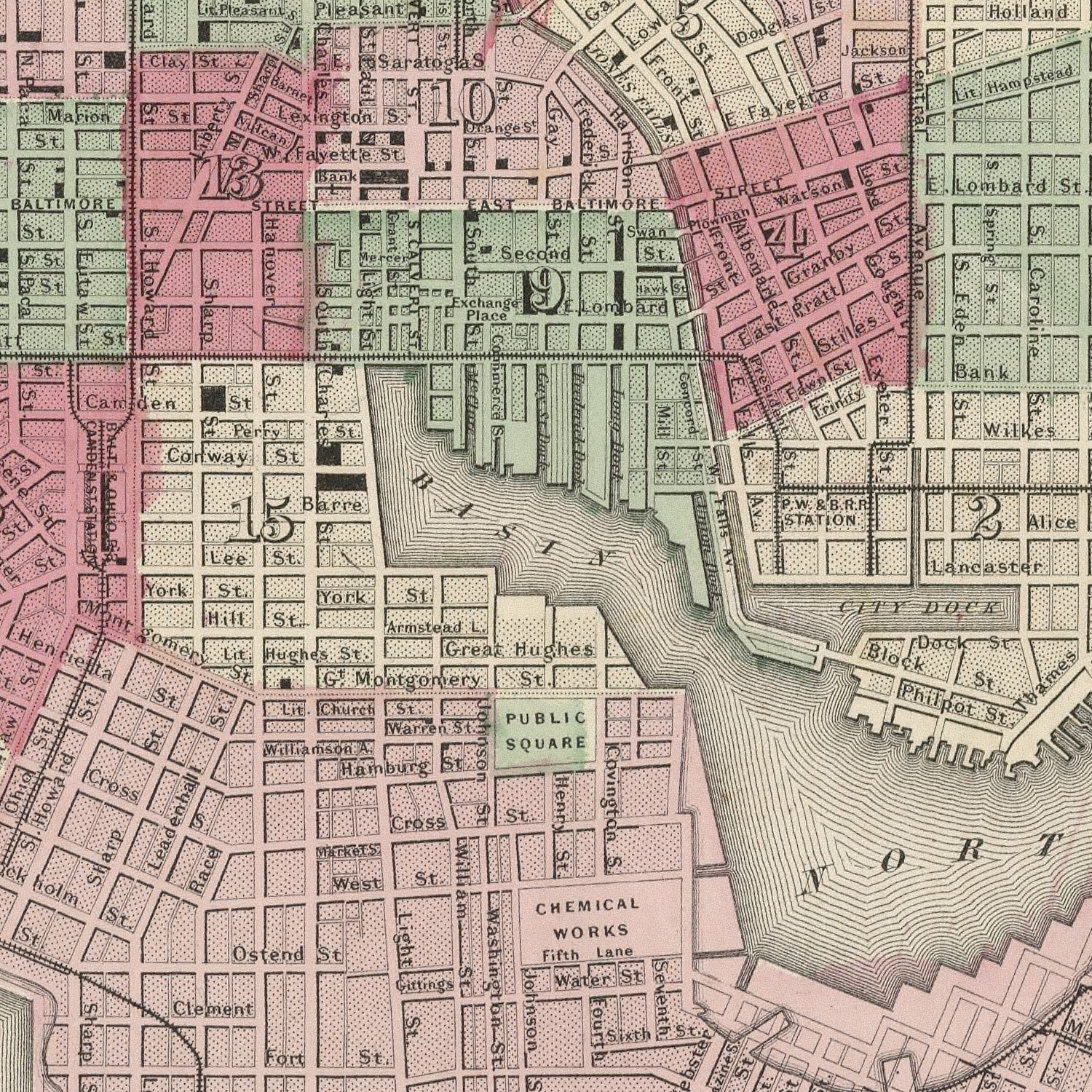 Vintage Map of Baltimore, Maryland 1865