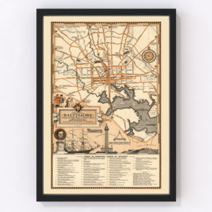 Vintage Map of Baltimore, Maryland 1936