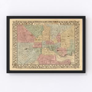 Vintage Map of Baltimore, Maryland 1870