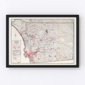 Vintage Map of San Diego County California, 1935