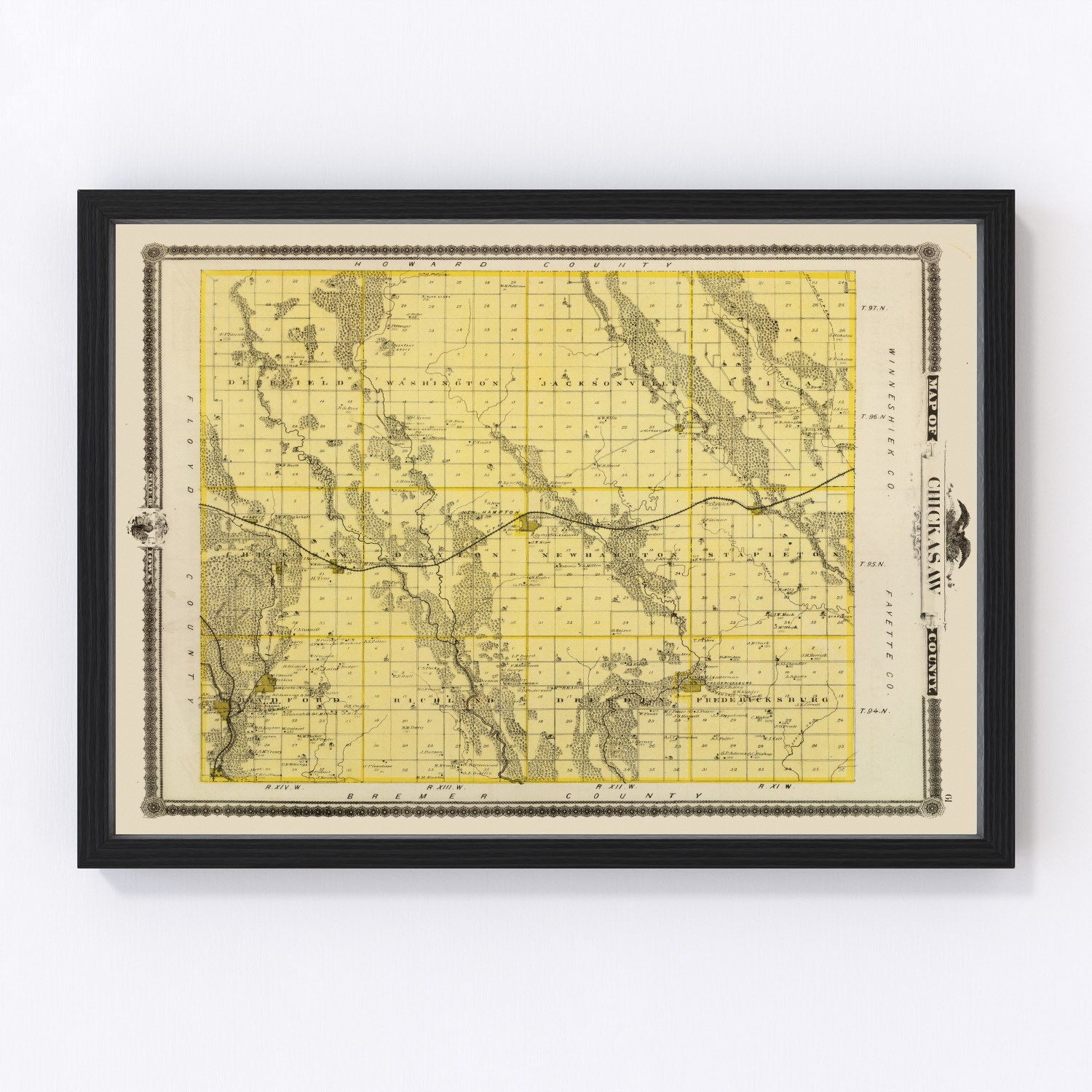 Vintage Map of Chickasaw County Iowa, 1875