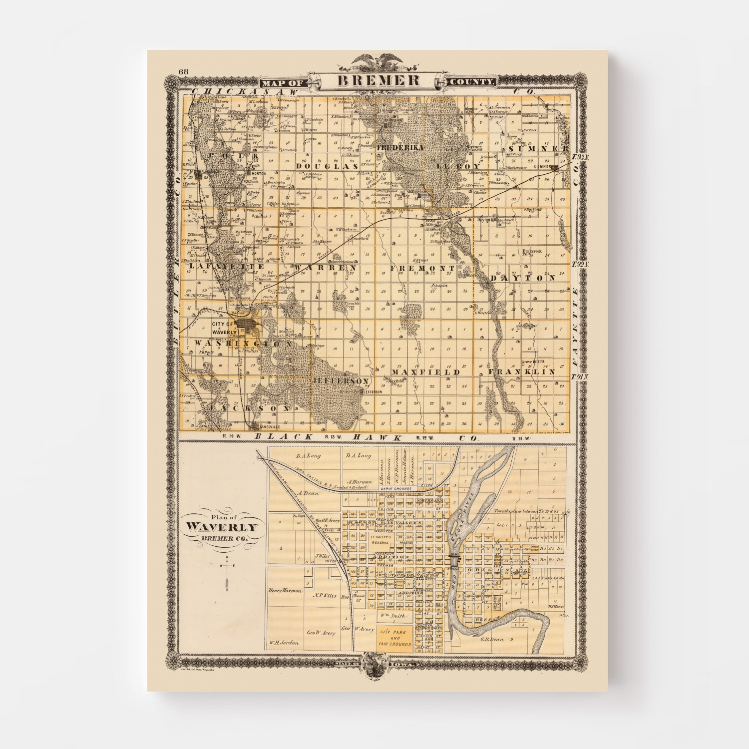 Vintage Map of Bremer County Iowa, 1875