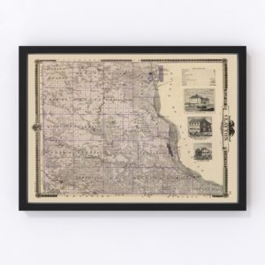 Vintage Map of Clayton County Iowa, 1875