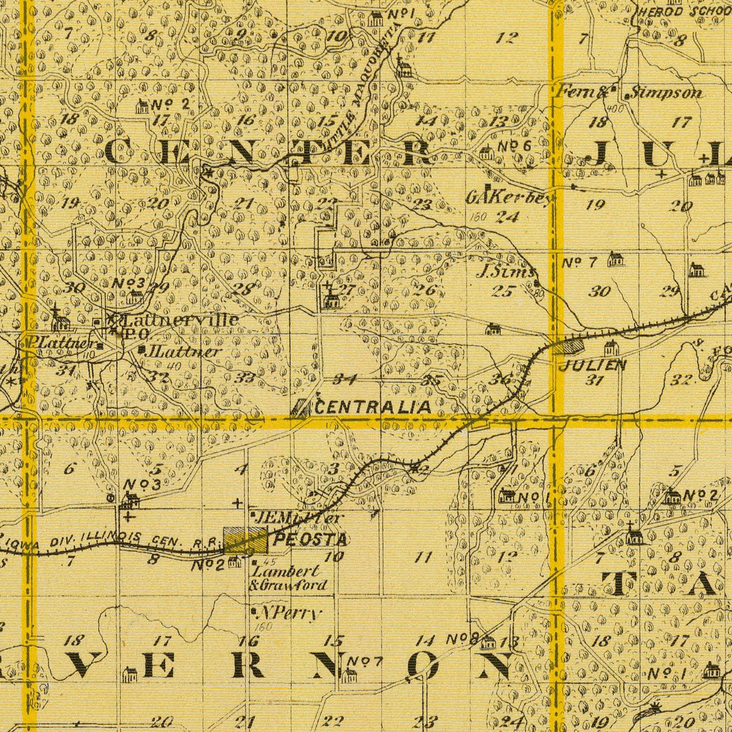 Vintage Map of Dubuque County Iowa, 1875