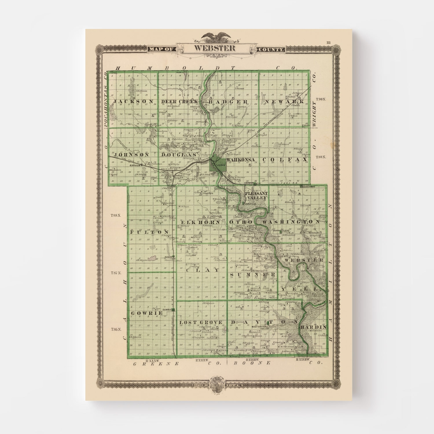 Vintage Map of Webster County Iowa, 1875
