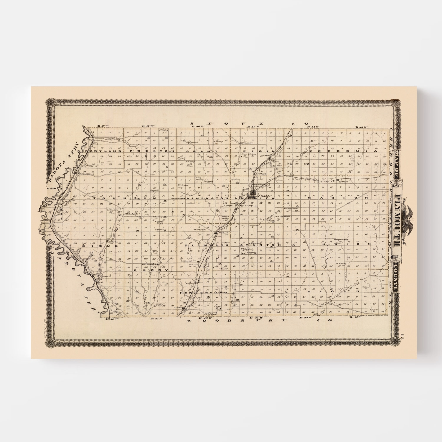 Vintage Map of Plymouth County Iowa, 1875