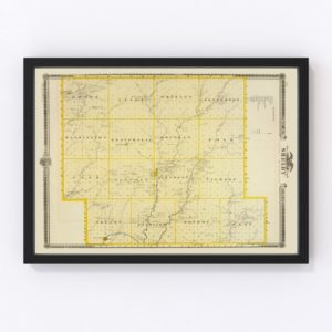 Vintage Map of Shelby County Iowa, 1875