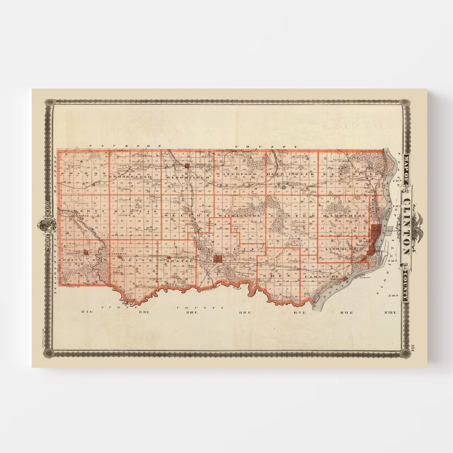 Vintage Map of Clinton County Iowa, 1875