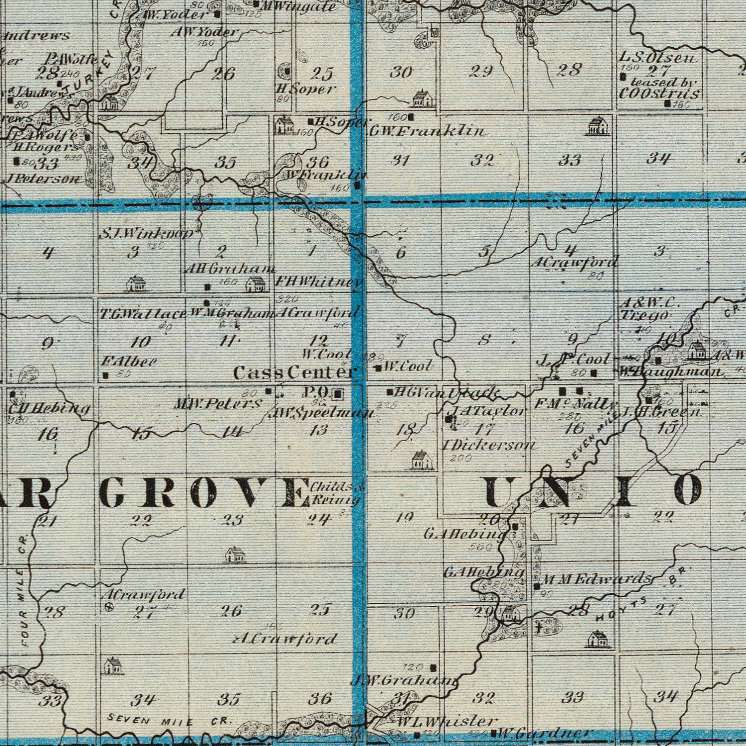 Vintage Map of Cass County Iowa, 1875