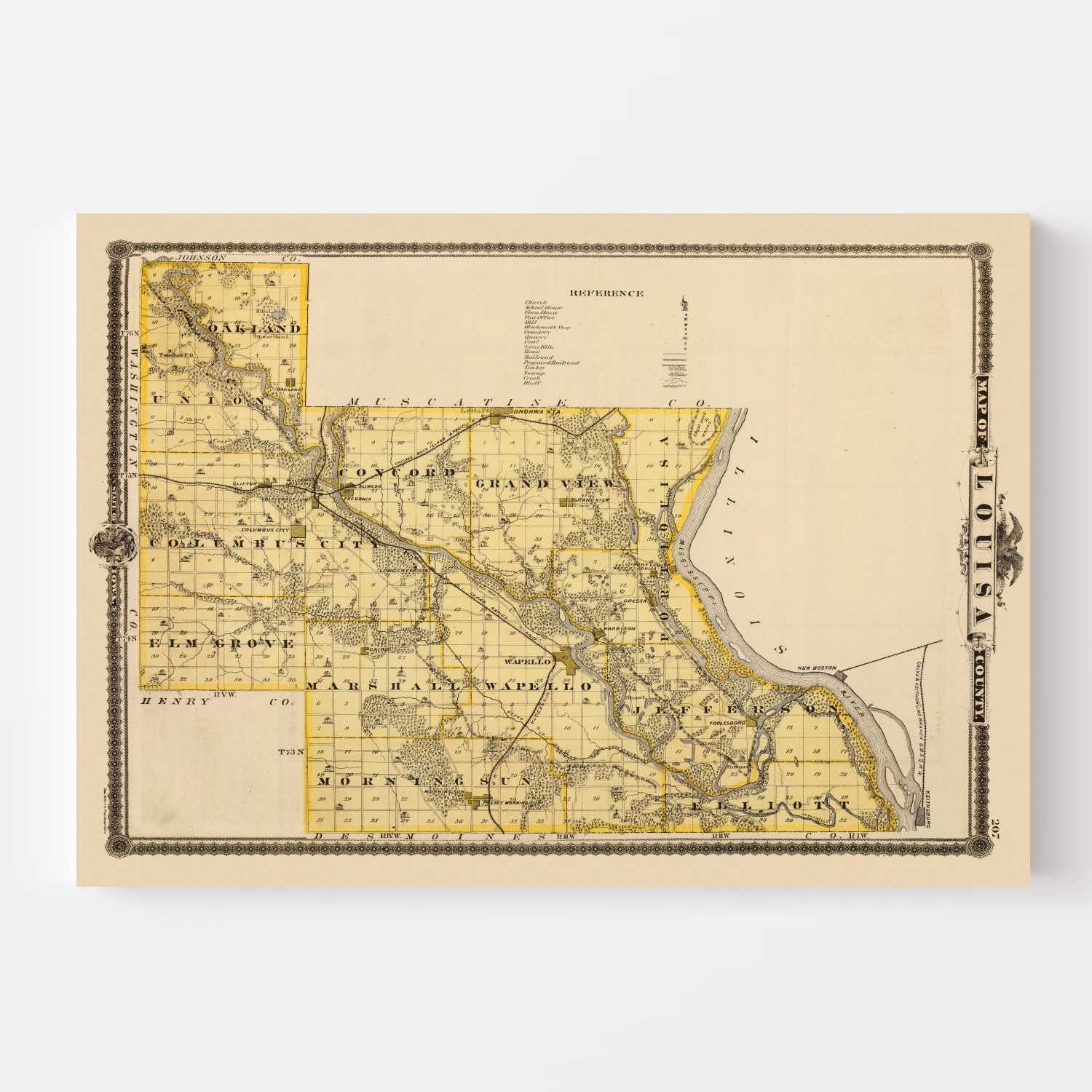 Vintage Map of Louisa County Iowa, 1875