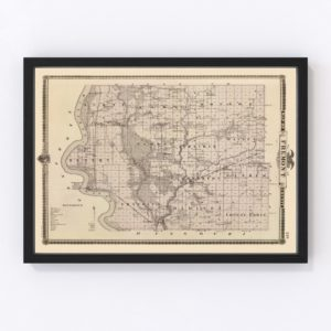 Vintage Map of Fremont County Iowa, 1875