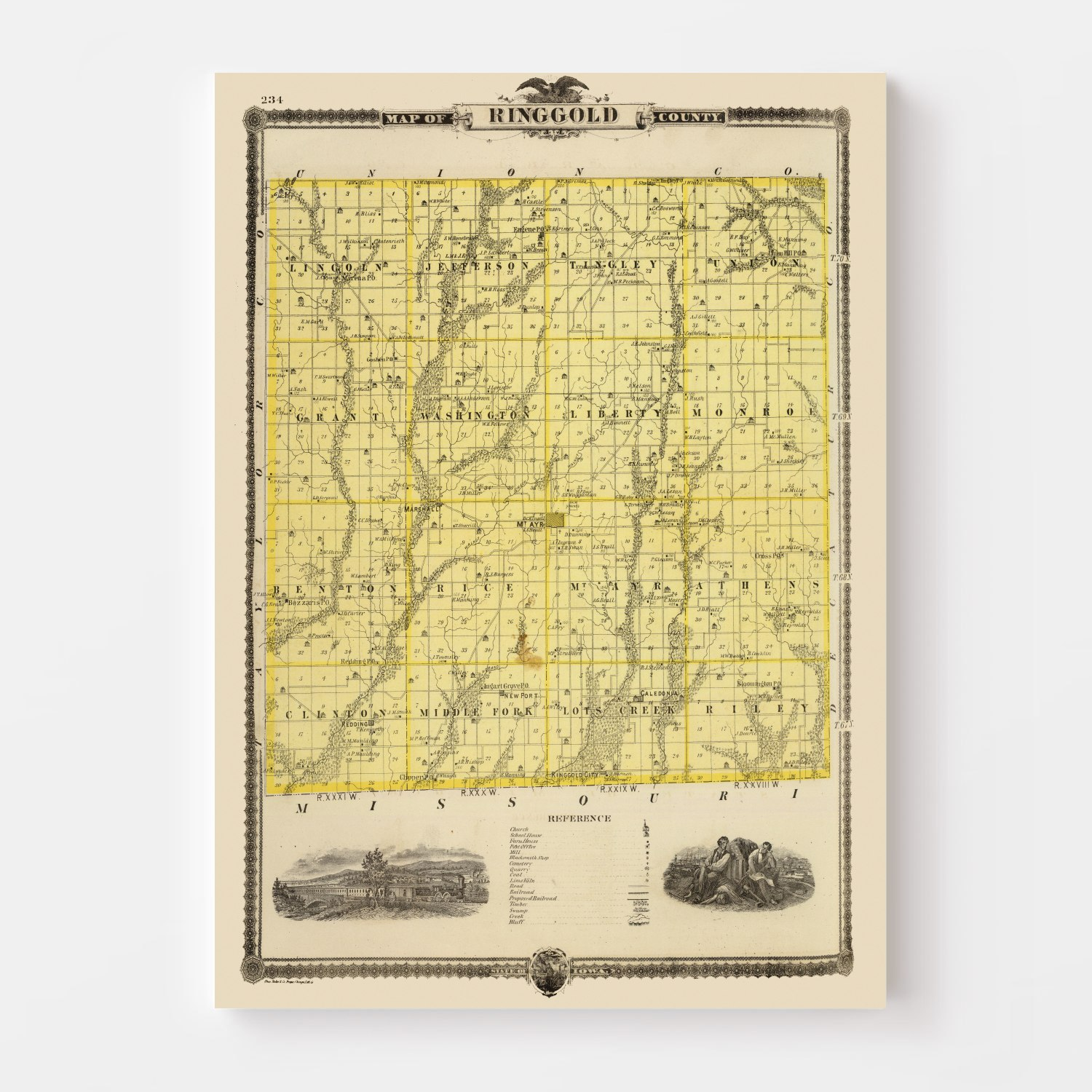 Vintage Map of Ringgold County Iowa, 1875